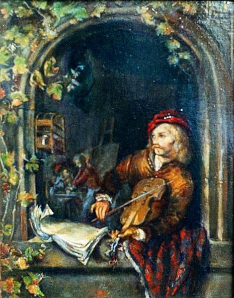 """hommage à gerard dou / antony de senna / 1997 / oil on canvas / master copy after gerard dou """"the violin player"""" / 1653 / collection of prince hans-adam II von und zu liechtenstein"""