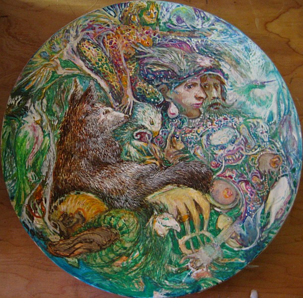 rondel with wolf