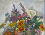 still life reduction:flowers & canvas