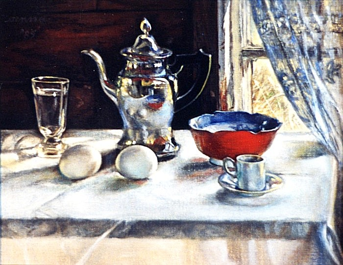 still life with silver pot