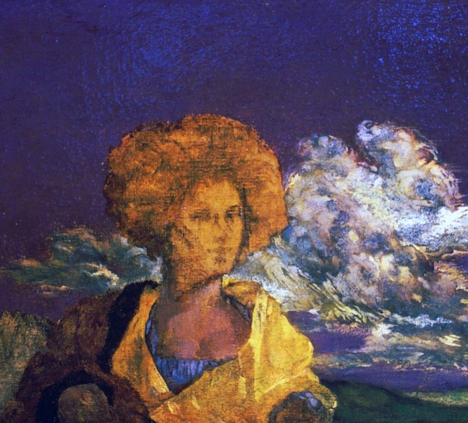 woman in saffron wrap
