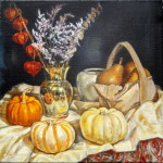 "october. still life by antony de senna alkyd/oil on linen 12"" x 12"", 30.5cm x 30.5cm"