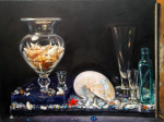 "shells and glass, still life by antony de senna alkyd/oil on panel 24"" x 18"", 61cm x 45.7cm"