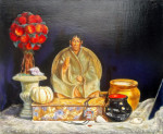 "don juan de castañeda. still life by antony de senna alkyd/oil on panel 20"" x 24"", 50.8cm x 60.9cm"