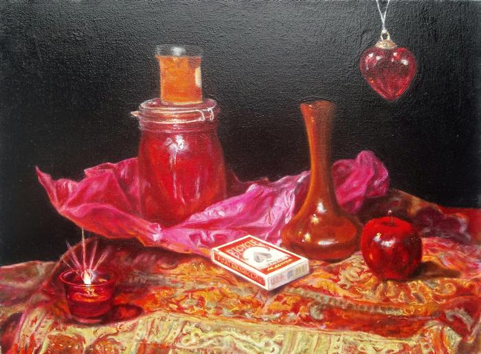 "still life by antony de senna alkyd/oil on canvas 18"" x 24"", 45.7cm x 60.9cm"