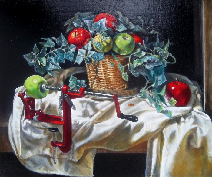 "the apple corer. still life by antony de senna alkyd/oil on panel 24"" x 20"", 61cm x 50.8cm"