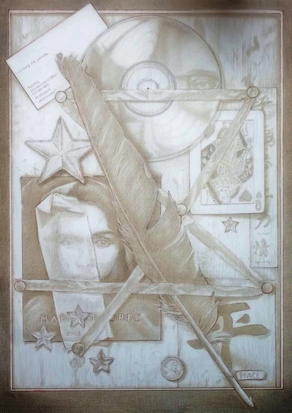 "grace obscured still life by antony de senna silverpoint on panel 16"" x 12"", 40.64cm x 30.48cm"