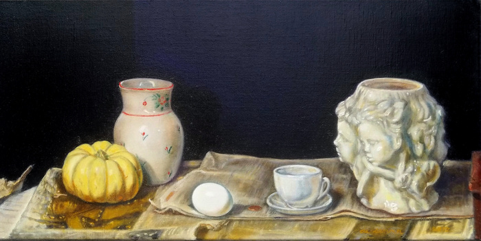 "black and white still life by antony de senna alkyd/oil on linen 24"" x 12"", 61cm x 30.5"