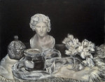 "bacchus grisaille still life by antony de senna alkyd on canvas 16"" x 20"", 40.6cm x 50.8cm"