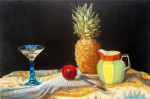 "cocktail still life by antony de senna alkyd/oil on canvas 27"" x 18"", 68.6cm x 45.7cm"