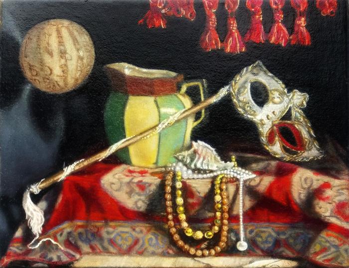 "un ballo in maschera, still life by antony de senna alkyd/oil on ® polyflax 14"" x 11"", 35.5cm x 28cm"