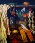 "baroque still life by antony de senna oil medium on canvas 24"" x 20"", 61cm x 50.8cm"