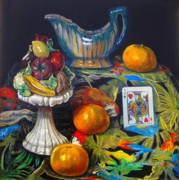 """fiesta still life by antony de senna oil medium on linen 12"""" x 12"""", 30.5cm x 30.5cm"""
