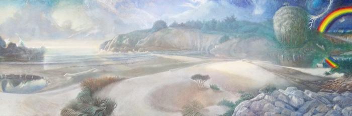 "the storm passes by antony de senna egg/oil emulsion and oil on canvas 36"" x 12"", 91.5cm x 30.5"
