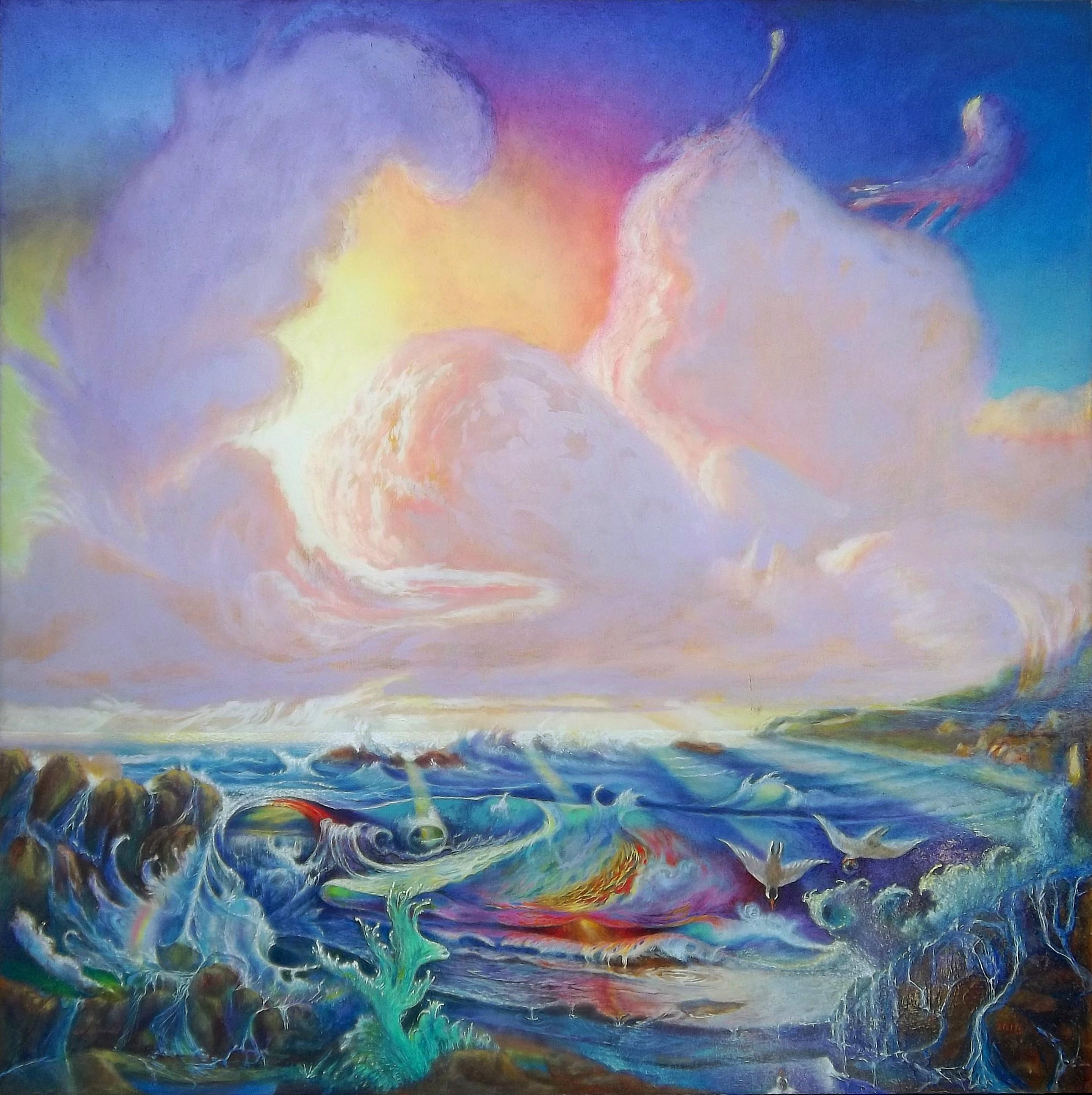 """ocean fantasy by antony de senna oil on gessoboard 30"""" x 30"""""""